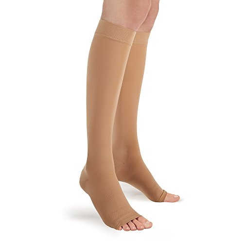 Futuro Therapeutic Knee Length Stockings for Men/Women, Helps Improve Circulation, Helps Relieve Symptoms of Mild Spider Veins, Firm Compression, Open Toe, Large, - Knee Support Open Toe Stockings