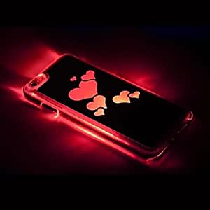 LCJ Heart Shaped Colorful Pattern Metal Finish Hard Case with Call Flash Light for iPhone 6 Plus(Assorted Colors) , Rose