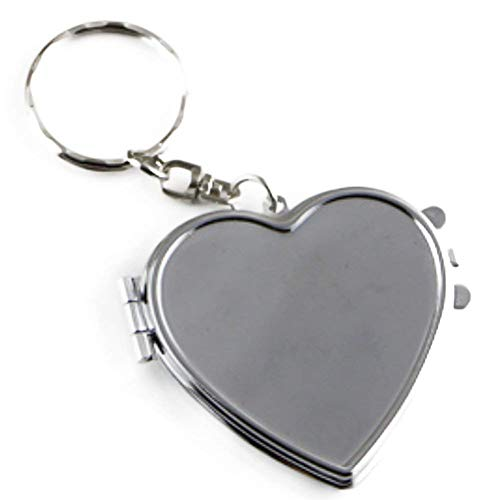 Mothers Day Love Key-Chain Heart Shaped Compact Travel Pocket Mirror Handbag Charm Decoration Gift for Mom