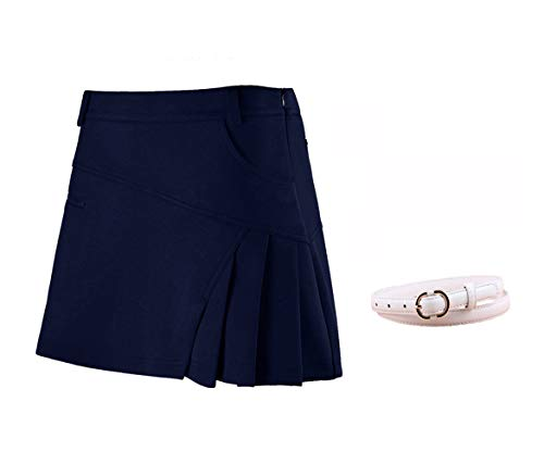 Badminton Clothing - Acstar Women's Athletic Skort Lady's Stretchy Skirt with Zipper Pocket Secure Underpants for Running Golf Tennis Workout(Navy Blue, L)