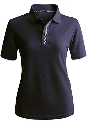 (CLOVERY Women's Coolmax Fabric Moisture Wicking Short Sleeve Polo Shirt Top Navy 2XL Plus Size)