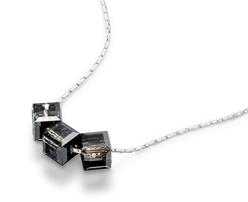 (Silver Night Cube Necklace Made with Original Swarovski Crystal in 925 Sterling Silver, 18