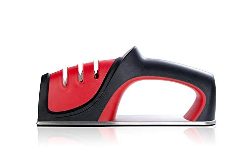 (Knife Sharpener, QYUKUYU 3-in-1 Knife Sharpening System, Quickly Sharpen Dull Knife, Non-slip Base Kitchen Knife Sharpener, Safe &)
