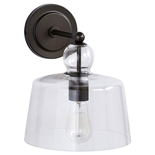 Glass Modern Sconce - Stone & Beam Modern Wall Mount Sconce Fixture With Light Bulb And Glass Shade - 16 x 8 x 10 Inches, Gunmetal
