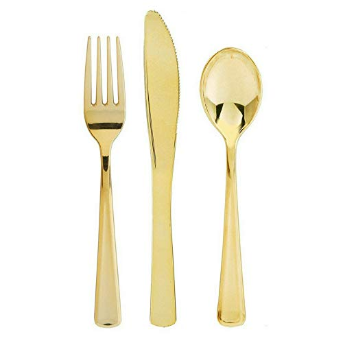 Stately Elegance Designs 600 Piece Gold Plastic Silverware Set - Includes 200 Forks, 200 Knives and 200 Spoons - Gold Cutlery - Heavy Duty Durable Disposable Flatware Set ()
