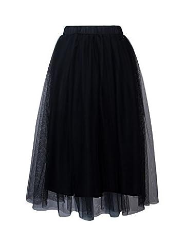 Joeoy Women's Black Elastic Waist Ballet Layered Princess Mesh Tulle Midi Skirt-L (Midi Skirt Black)