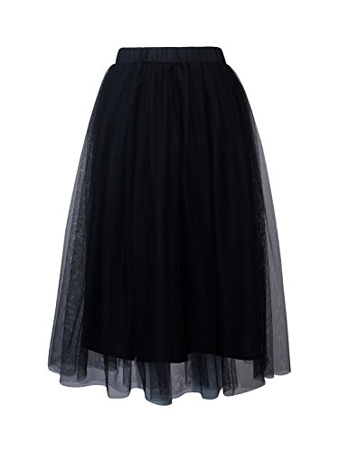 Joeoy Women's Black Elastic Waist Ballet Layered Princess Mesh Tulle Midi Skirt-L by Joeoy