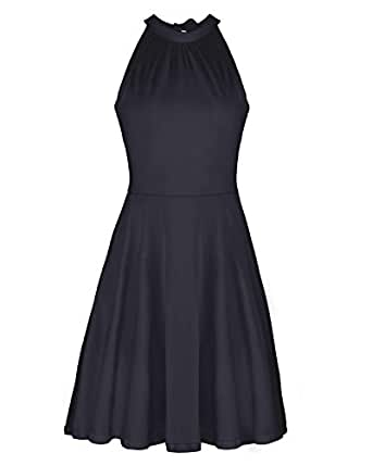 OUGES Women's Stand Collar Off Shoulder Sleeveless Cotton Casual Dress(Black,S)