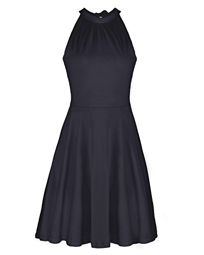OUGES Women's Stand Collar Off Shoulder Sleeveless Cotton Casual Dress(Black,L)