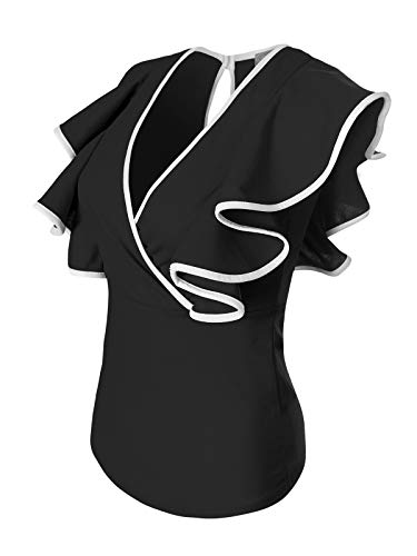 Instar Mode Women's Deep V-Neck Surplice Ruffled Cap Sleeve Blouse Top - Made In USA Black/White ()