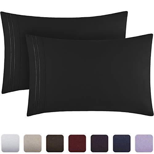 Mellanni Luxury Pillowcase Set - Brushed Microfiber 1800 Bedding - Wrinkle, Fade, Stain Resistant - Hypoallergenic (Set of 2 Standard Size, Black)