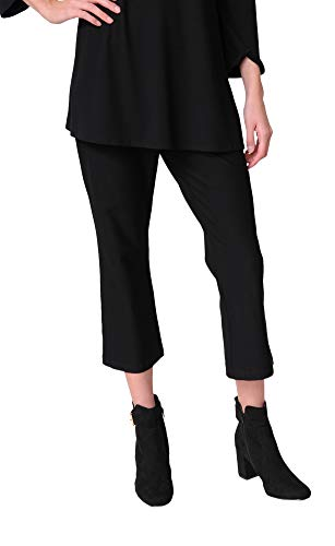 Eileen Fisher Washable Stretch Crepe Cropped Pant (L, Black)