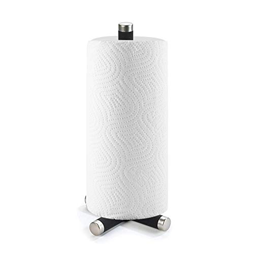 Paper Towel Holder – Freestanding Towel Paper Holder – Elegant Stainless Steel Finish – Heavy Duty to Pull Sheets with One Hand – Fits Most Towel Paper Rolls – Non-Slip Grip Base by Umbra