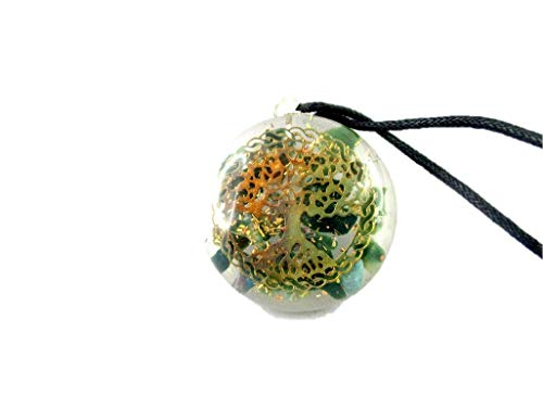 HiJet Orgonite Pendant Beautiful Bloodstone Tree of Life Orgone Pendant Orgone Generator Balancing Positive Energy Harmony Luck Yoga Meditation Reiki Natural Genuine Authentic Fashion Style