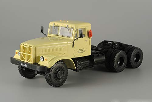 Diecast 43 Scale Tractor (KrAZ-258 Soviet Truck Tractor 1966 Year 1/43 Scale Collectible Diecast Model Car)