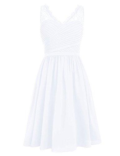 Cdress Dentelle V-cou Court Robes De Demoiselle D'honneur En Mousseline De Soie Robes De Fête De Bal De Mariage Blanc