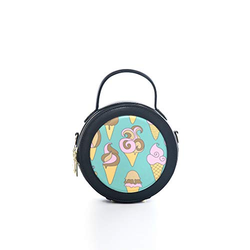 - Fashion Microfiber&cowhide Zipper Round Packet Sweet Tube Ice Cream Sweets Summer Print One Shoulder Cross-body Bags Handbag Small Round Wallet Circle Purse Clutch