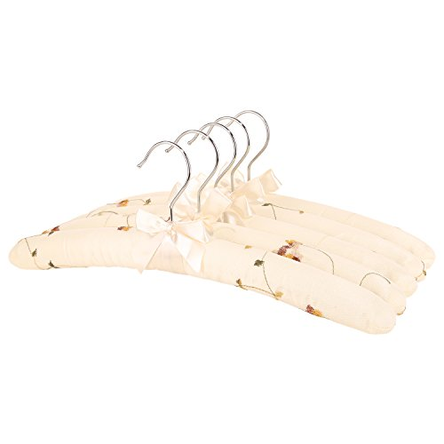 NEOVIVA Vintage Coated Hanger for Women with Sponge Padding, Pack of 5, Embroidery French Vanilla