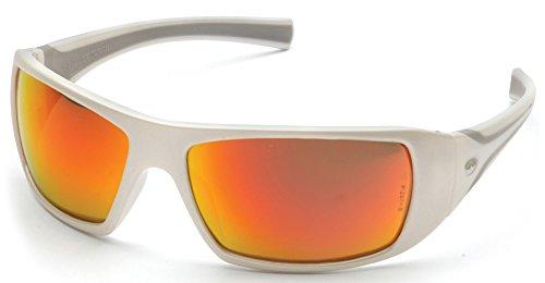 Pyramex Goliath Safety Eyewear, White Frame, Sky Red Mirror - Safety Sunglasses