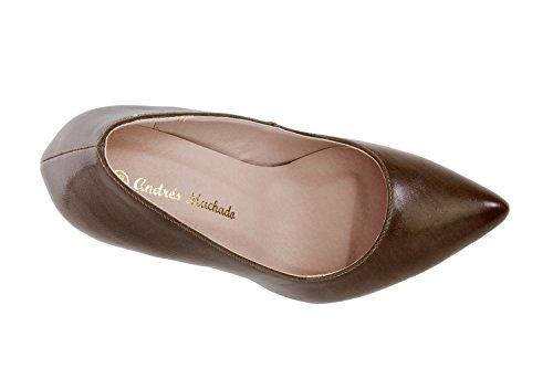 Andres Machado.AM591.Zapatos Salon.Mujer.Tallas Pequeñas y Grandes. 32/35- 42/45. Mujer. SoftSiena