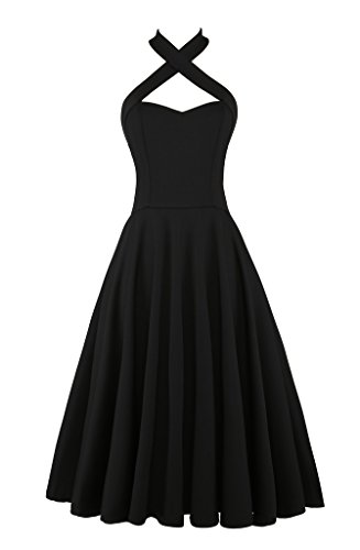 Elf Queen Women's Vintage Bandage Halter Strapless Party Wedding Prom Dress Dresses US Size M Black