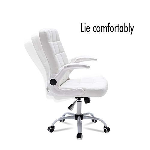 MISS&YG dator ergonomisk nätstol, läder verkställande svängbar stol höjd justerbar, 360 graders roterbar, explosionssäker stålbricka, inhemsk svamp kontor, svart Vitt