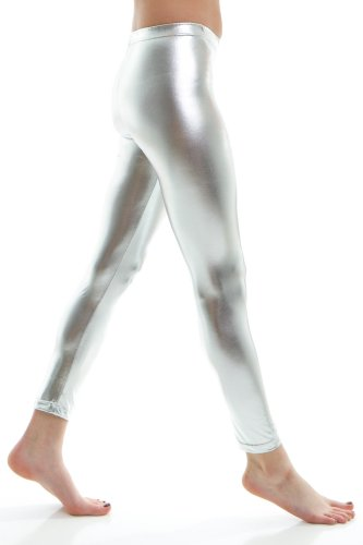 Soho Girl Women's Shiny Metallic Full Length Leggings Length, Silver-Large ()