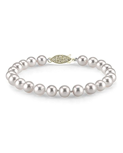 (THE PEARL SOURCE 14K Gold 7-8mm AAA Quality Round White Freshwater Cultured Pearl Bracelet for Women)