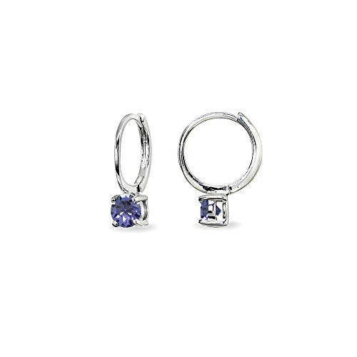 Sterling Silver Tanzanite 5mm Solitaire Small Round Huggie Hoop Earrings for Women Teen Girls ()