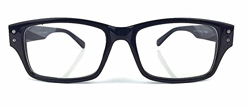 Rectangular Rectangle Clear lenses Men Women Eyeglasses glasses Eye wear Thick frame (Black, - Rectangle Black Thick Glasses