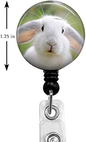Medical MD RN Nurse Badge ID Cute Rabbit Badge Reel,Retractable Name Card Badge Holder with Alligator Clip Badge Holder