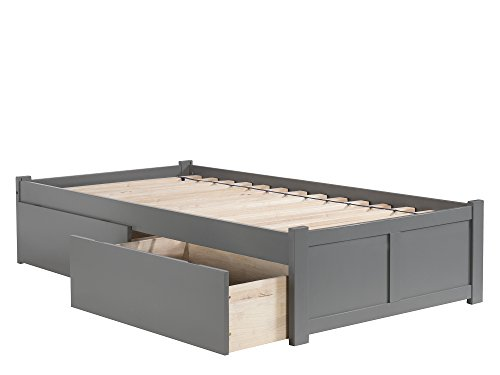 Atlantic Furniture Concord Platform Flat Panel Foot Board and 2 Urban Bed Drawers, Twin XL, Grey