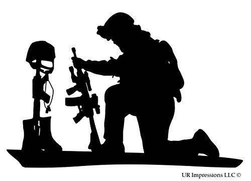UR Impressions MBlk Soldier Praying Over Battlefield Cross Decal Vinyl Sticker Graphics for Cars Trucks SUV Vans Walls Windows Laptop|Matte Black|6.4 X 4.3 Inch|URI334-MB ()