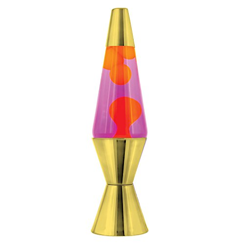Lava the Original 14.5-Inch Gold Metallic Base Lamp - Chrome Lava Lamp