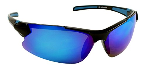 Optic Edge Ricochet Shiny Black Frame and Ice Blue Mirror - Optic Sunglasses Edge