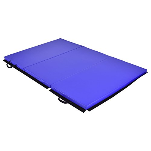 Exercise Mat 6′ x 4′ Tri-Fold GymnasticsThick Folding Panel Gym Fitness Blue with Ebook