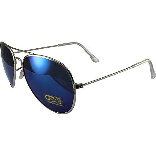 Pacific Aviator Coast Sunglasses (Classic Pilot Aviator Sunglasses Chrome Frames and Blue Mirrored Lenses)