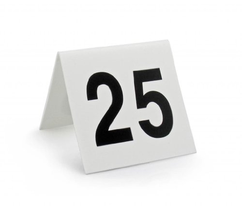 Plastic Table Tents - New Star Foodservice 27600 Double Side Plastic Table Numbers, 1-25, 3
