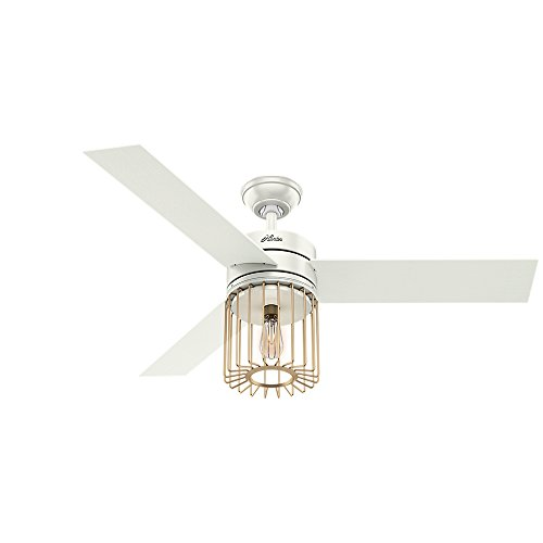 Hunter Indoor Ceiling Fan with LED Light and remote control – Ronan 52 inch, White, 59238