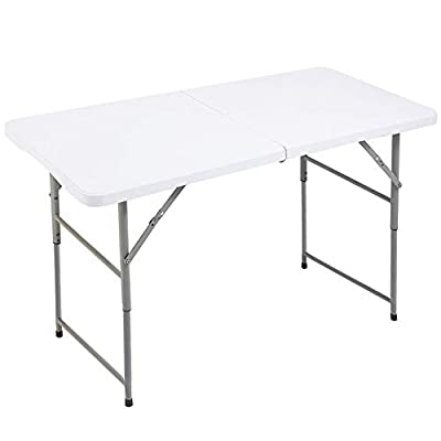 FORUP Folding Utility Table, 4ft Fold-in-Half Portable Plastic Picnic Party Dining Camp Table