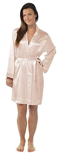 - Leisureland Women's Kimono Satin Robe, Solid Color Dressing Gown, Knee Length (One Size, Blush Pink)
