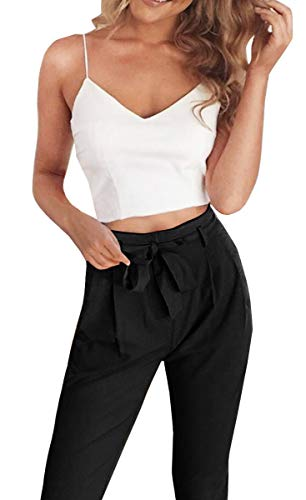 FANCYINN Women 2 Pieces Outfit Spaghetti Strap Top and Bodycon Long Pant with Belt Black M
