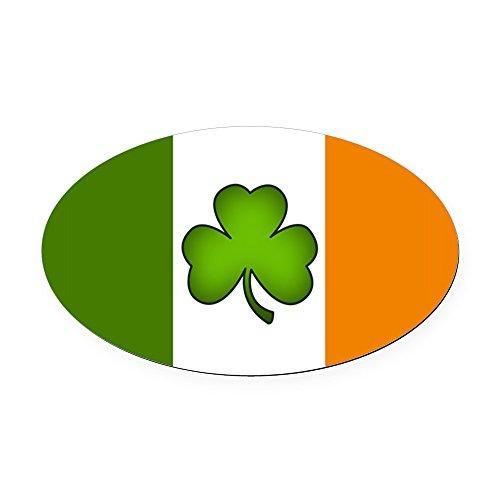 CafePress - Irish Flag Shamrock - Oval Car Magnet, Euro Oval Magnetic Bumper Sticker ()