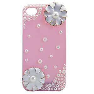 QJM Double Flower Pearl Back Case for iPhone 4/4S