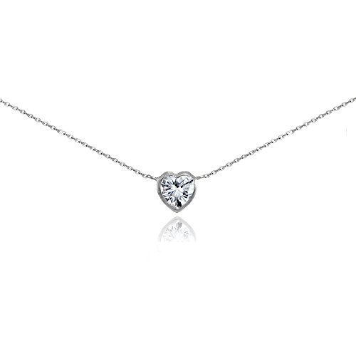 Sterling Silver Cubic Zirconia Bezel-Set Heart - Drop Heart Necklace Zirconia Cubic