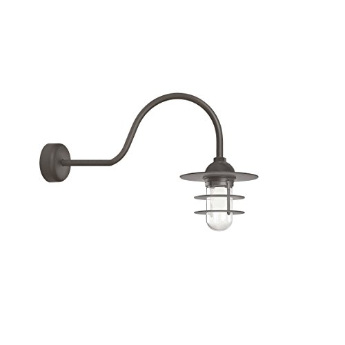 (Troy RLM RRS10MTBZ2LL30 Retro Industrial Flat Outdoor Wall Sconce with Wire Guard-30in Clear Glass, 30