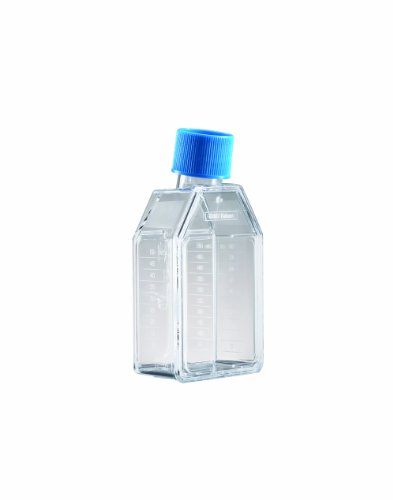 BD 353014 Falcon Polystyrene Cell Culture Flask with Blue Plug-Seal Screw Cap, Canted Neck, 25 sq cm Culture Area, 50mL Capacity (Case of 200)