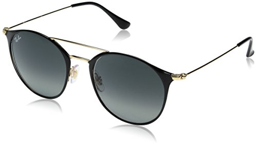 Ray-Ban Steel Unisex Round Sunglasses, Gold Top Black, 52 - Aviator Ray Size Ban 52