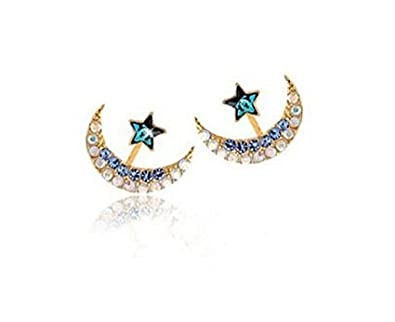 357f5f38672 Buy Shopping World Cute Crystal Rhinestone Star Moon Stud Earrings For Women    Girls New Gold Plated Ear Studs Fashion Jewelry. Online at Low Prices in  ...