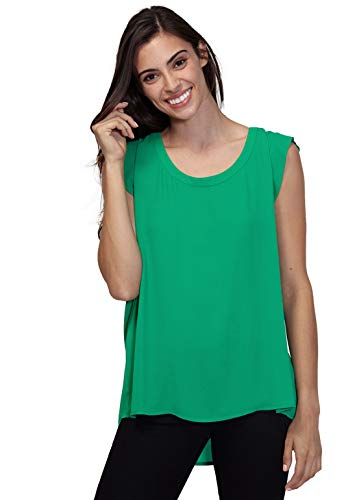 Pleione Solid Sleeveless Blouse in Round Neck with Pleated Back Jewel L (Pleated Jewel)